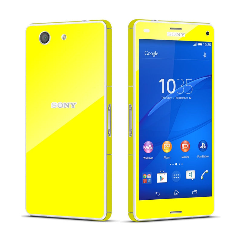 Sony Xperia Z3 COMPACT Lemon Yellow Glossy Skin Wrap Sticker Cover Decal Protector By EasySkinz