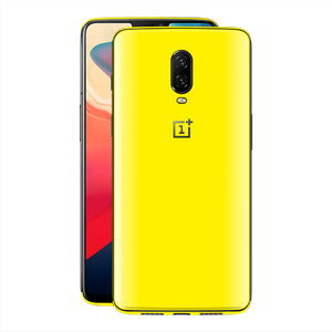OnePlus 6T GLOSSY Lemon Yellow Skin, Decal, Wrap, Protector, Cover by EasySkinz | EasySkinz.com