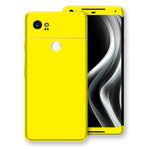 Google Pixel 2 XL Lemon Yellow Glossy Gloss Finish Skin, Decal, Wrap, Protector, Cover by EasySkinz | EasySkinz.com
