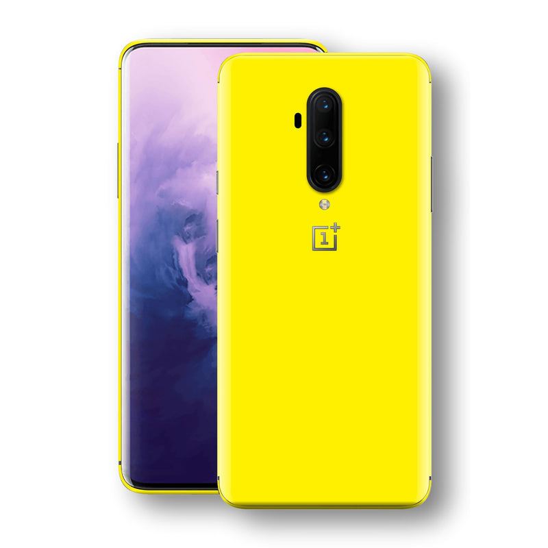 OnePlus 7T PRO Lemon Yellow Glossy Gloss Finish Skin, Decal, Wrap, Protector, Cover by EasySkinz | EasySkinz.com