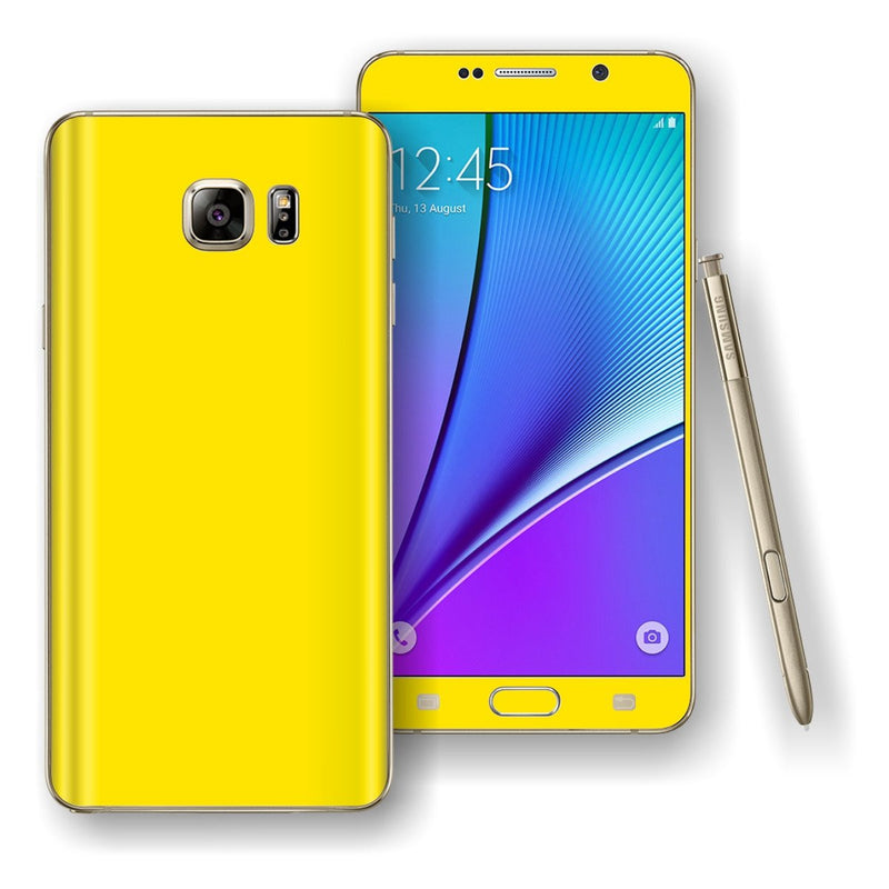 Samsung Galaxy NOTE 5 Lemon Yellow Glossy Skin Wrap Decal Cover Protector by EasySkinz