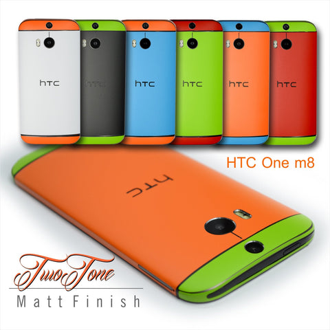 HTC ONE M8 Two Tone COLORFUL MATT Skin Wrap Sticker Cover Decal Protector NOT CASE