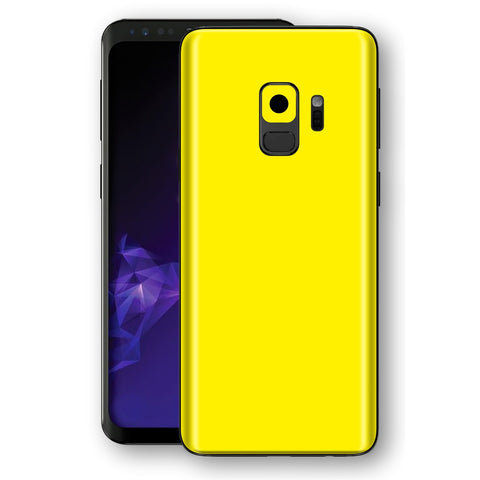 Samsung GALAXY S9 Lemon Yellow Glossy Gloss Finish Skin, Decal, Wrap, Protector, Cover by EasySkinz | EasySkinz.com
