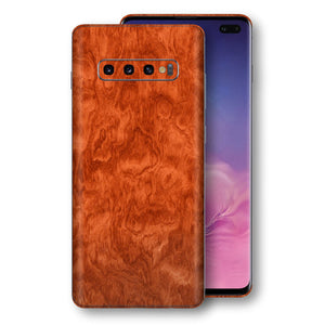 Samsung Galaxy S10+ PLUS Mahogany Wood Wooden Skin Wrap Decal Protector | EasySkinz