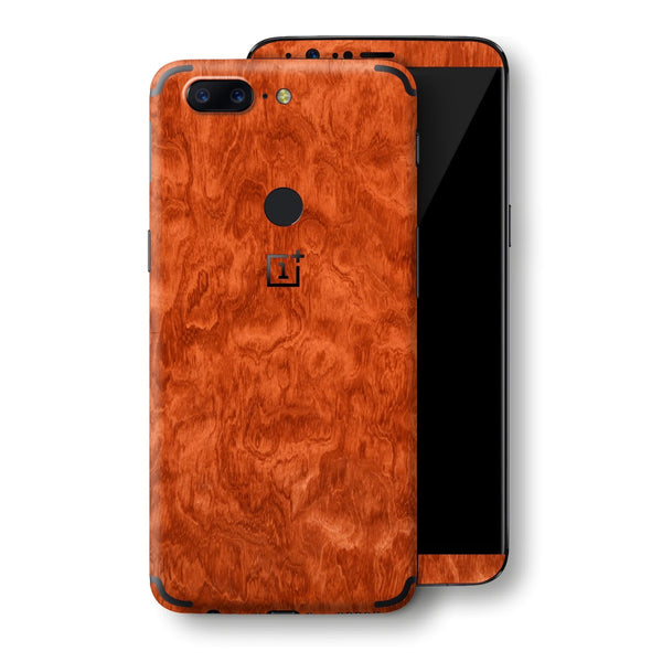 OnePlus 5T Mahogany Wood Wooden Skin Wrap Decal Protector | EasySkinz
