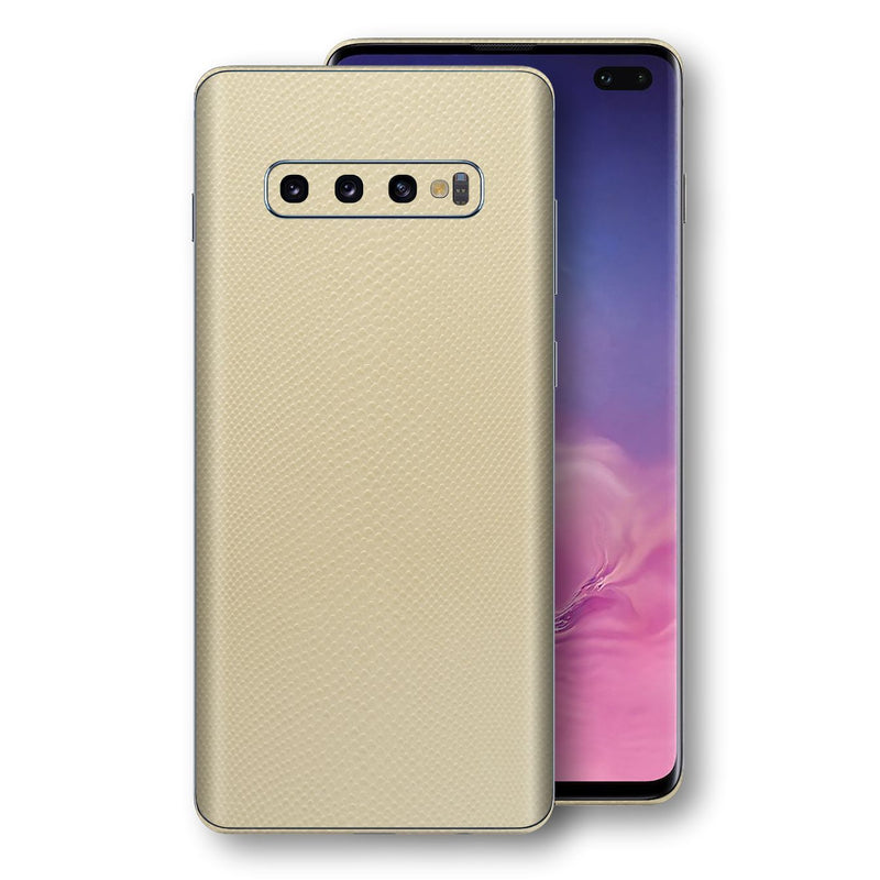 Samsung Galaxy S10+ PLUS Beige Mamba Snake Leather Skin, Decal, Wrap, Protector, Cover by EasySkinz | EasySkinz.com