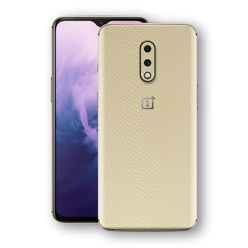 OnePlus 7 Beige Mamba Snake Leather Skin, Decal, Wrap, Protector, Cover by EasySkinz | EasySkinz.com