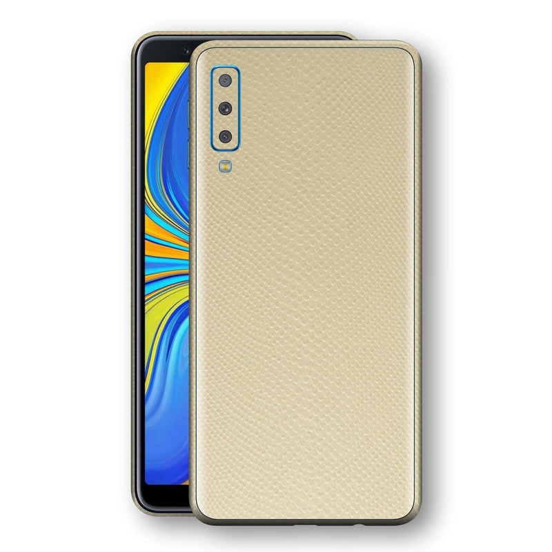 Samsung Galaxy A7 (2018) Beige Mamba Snake Leather Skin, Decal, Wrap, Protector, Cover by EasySkinz | EasySkinz.com