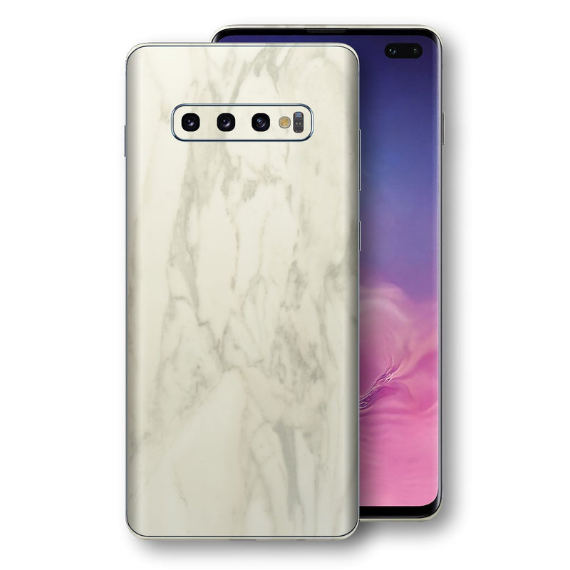 Samsung Galaxy S10+ PLUS Luxuria White Marble Skin Wrap Decal Protector | EasySkinz