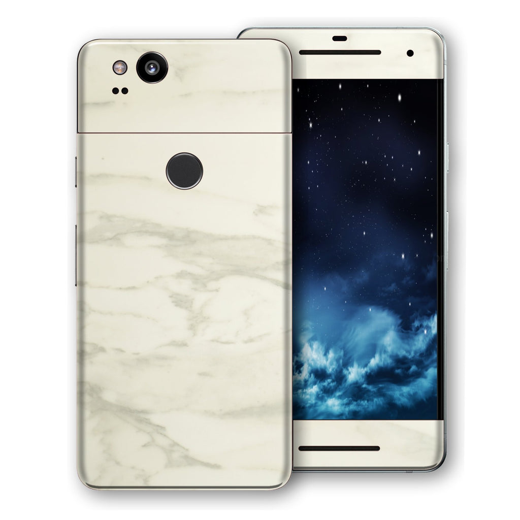 Google Pixel 2 Luxuria White Marble Skin Wrap Decal Protector | EasySkinz