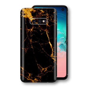 Samsung Galaxy S10e Print Custom Signature Marble Black Gold Skin Wrap Decal by EasySkinz - Design 2