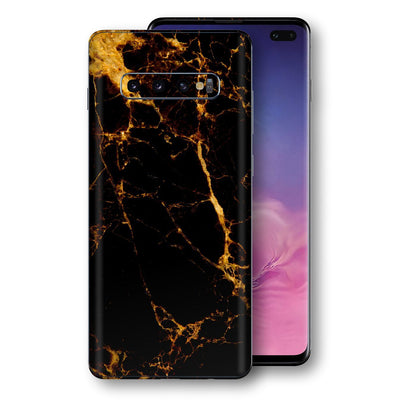 Samsung Galaxy S10+ PLUS Print Custom Signature Marble Black Gold Skin Wrap Decal by EasySkinz - Design 2