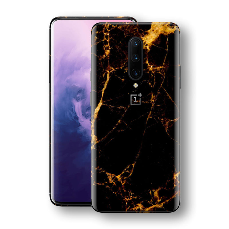 OnePlus 7 PRO Print Custom Signature Marble Black Gold Skin Wrap Decal by EasySkinz - Design 2