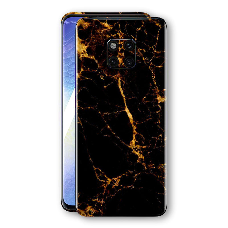 Huawei MATE 20 PRO Print Custom Signature Marble Black Gold Skin Wrap Decal by EasySkinz - Design 2