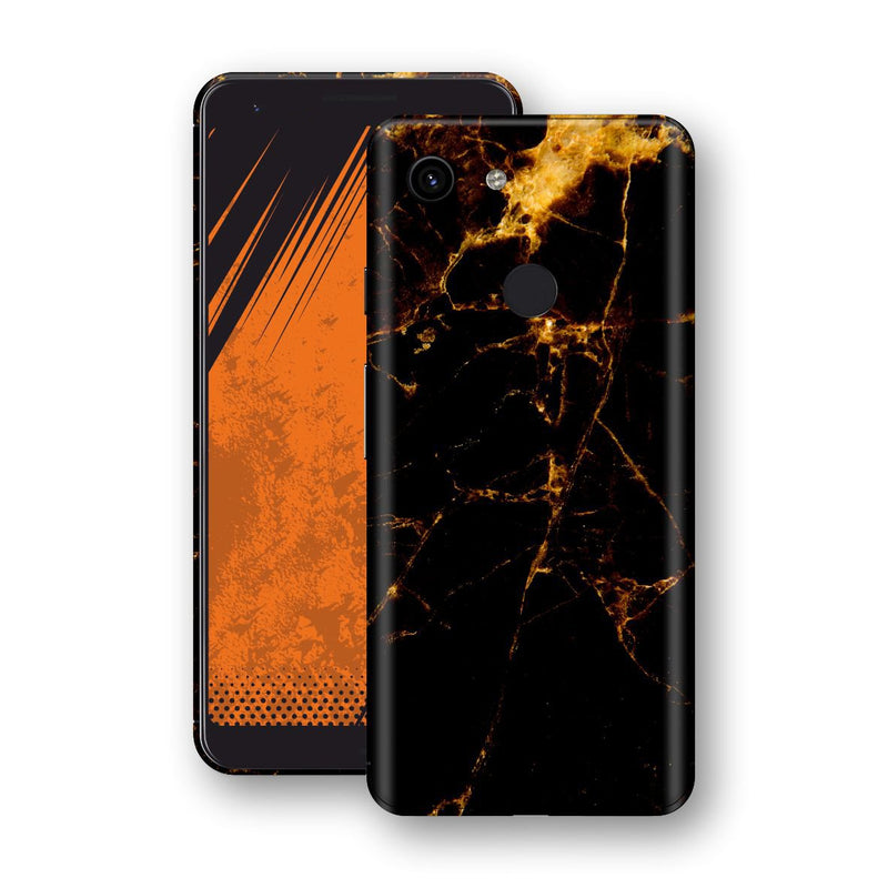 Google Pixel 3a Print Custom Signature Marble Black Gold Skin Wrap Decal by EasySkinz - Design 2