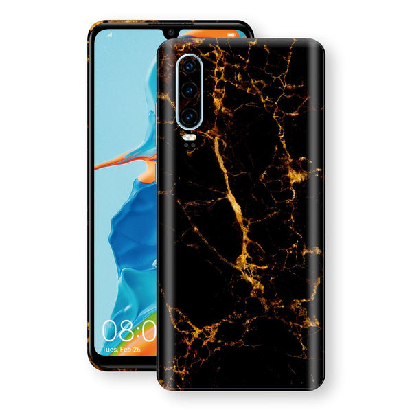 Huawei P30 Print Custom Signature Marble Black Gold Skin Wrap Decal by EasySkinz - Design 2