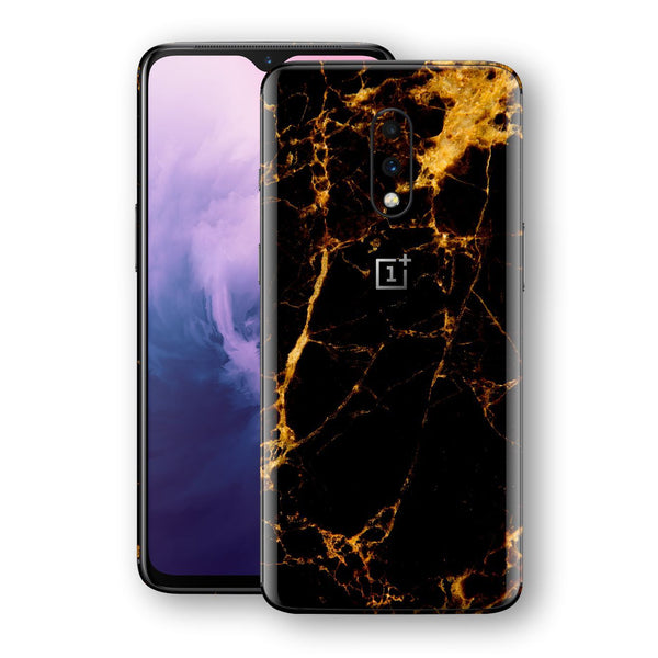 OnePlus 7 Print Custom Signature Marble Black Gold Skin Wrap Decal by EasySkinz - Design 2