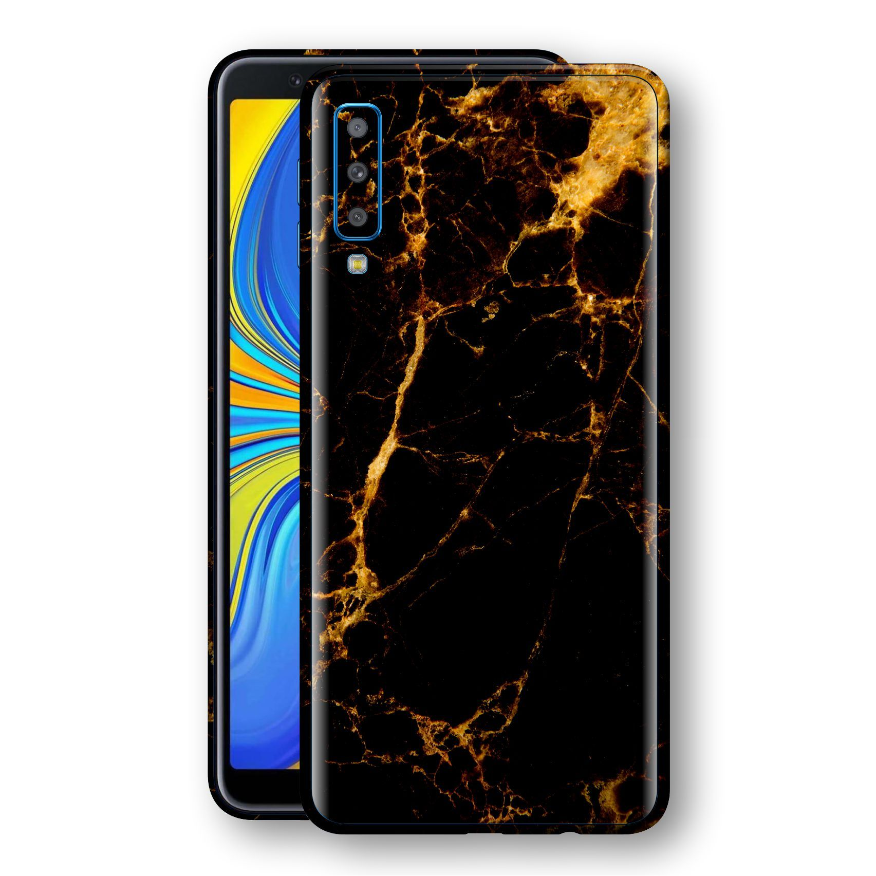 Samsung Galaxy A7 (2018) Print Custom Signature Marble Black Gold Skin Wrap Decal by EasySkinz - Design 2