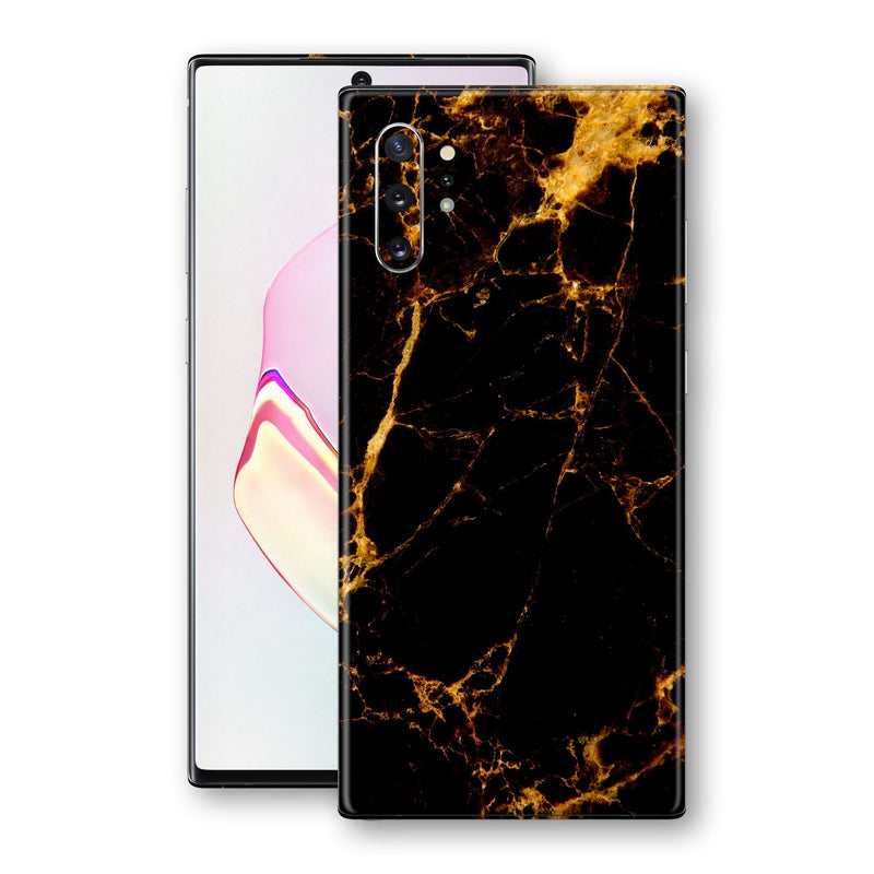Samsung Galaxy NOTE 10+ PLUS Print Custom Signature Marble Black Gold Skin Wrap Decal by EasySkinz - Design 2
