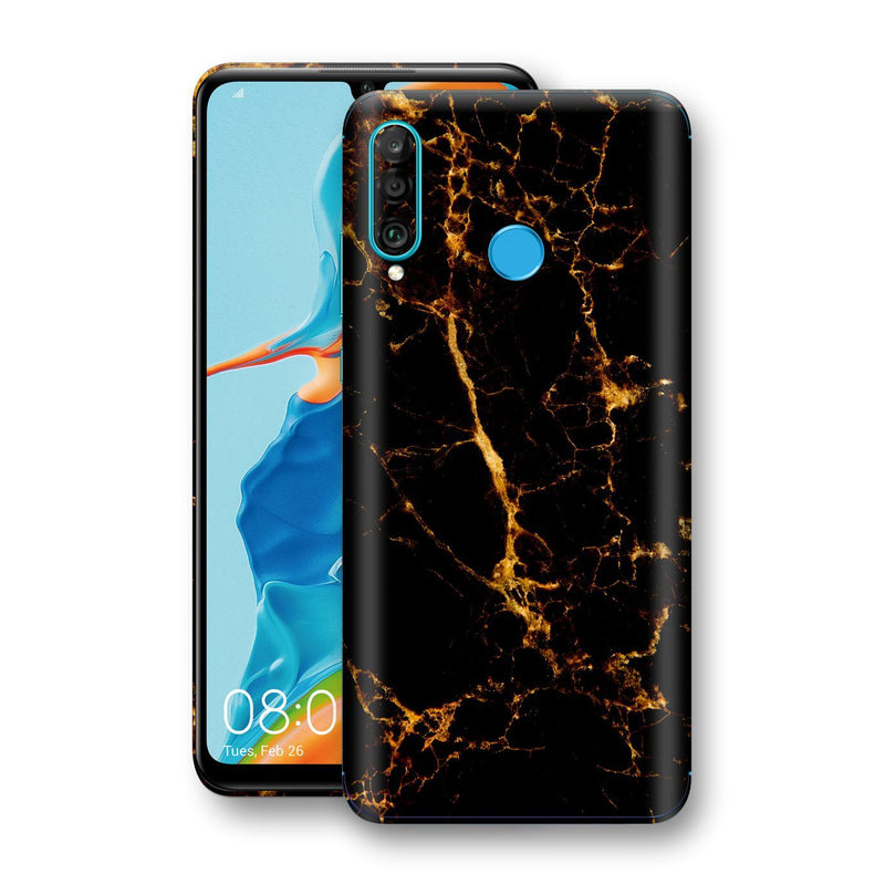 Huawei P30 LITE Print Custom Signature Marble Black Gold Skin Wrap Decal by EasySkinz - Design 2