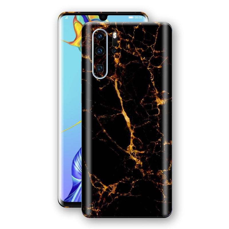 Huawei P30 PRO Print Custom Signature Marble Black Gold Skin Wrap Decal by EasySkinz - Design 2