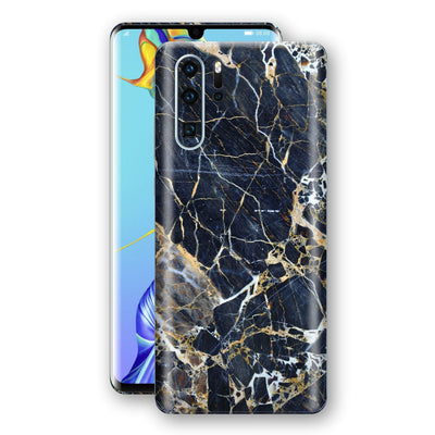 Huawei P30 PRO Print Custom Signature Marble Blue Gold Skin Wrap Decal by EasySkinz - Design 2