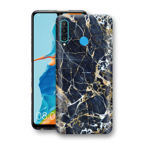 Huawei P30 LITE Print Custom Signature Marble Blue Gold Skin Wrap Decal by EasySkinz - Design 2
