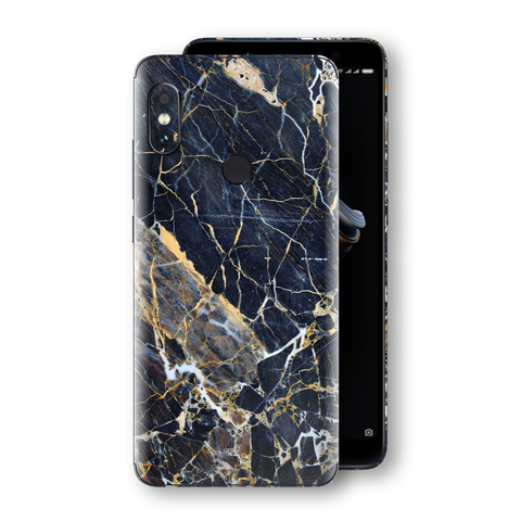 XIAOMI Redmi NOTE 5 Print Custom Signature Marble Blue Gold Skin Wrap Decal by EasySkinz - Design 2