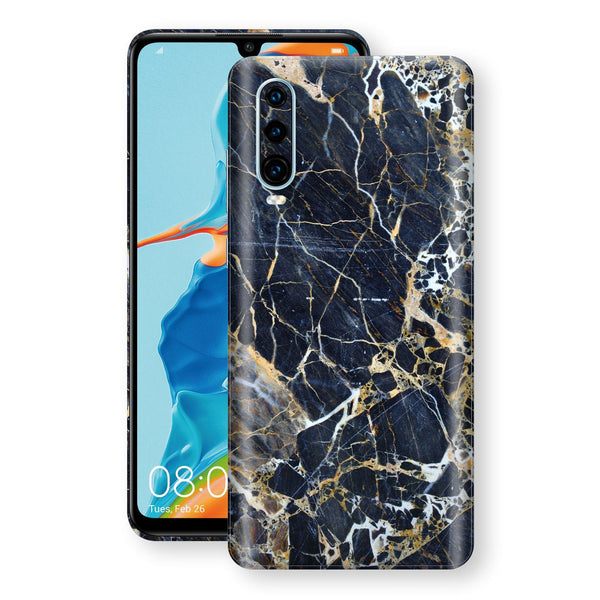 Huawei P30 Print Custom Signature Marble Blue Gold Skin Wrap Decal by EasySkinz - Design 2