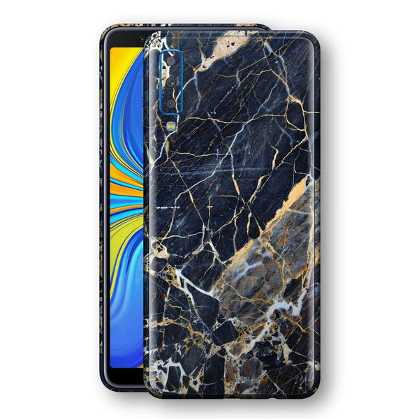 Samsung Galaxy A7 (2018) Print Custom Signature Marble Blue Gold Skin Wrap Decal by EasySkinz - Design 2