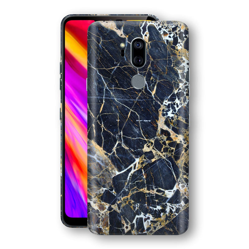 LG G7 ThinQ Print Custom Signature Marble Blue Gold Skin Wrap Decal by EasySkinz - Design 2