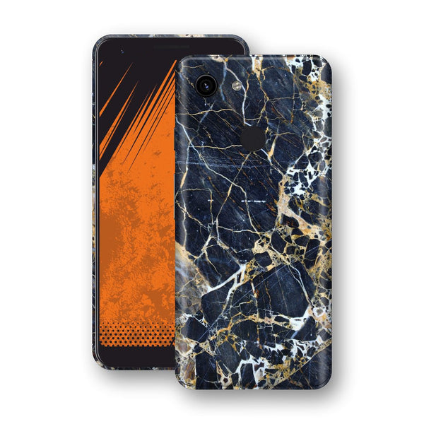 Google Pixel 3a Print Custom Signature Marble Blue Gold Skin Wrap Decal by EasySkinz - Design 2
