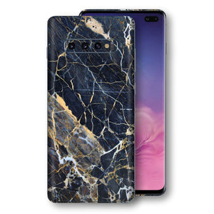 Samsung Galaxy S10+ PLUS Print Custom Signature Marble Blue Gold Skin Wrap Decal by EasySkinz - Design 2