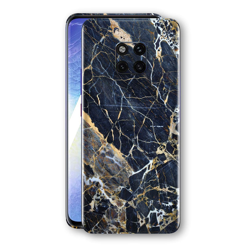 Huawei Mate 20 PRO Print Custom Signature Marble Blue Gold Skin Wrap Decal by EasySkinz - Design 2