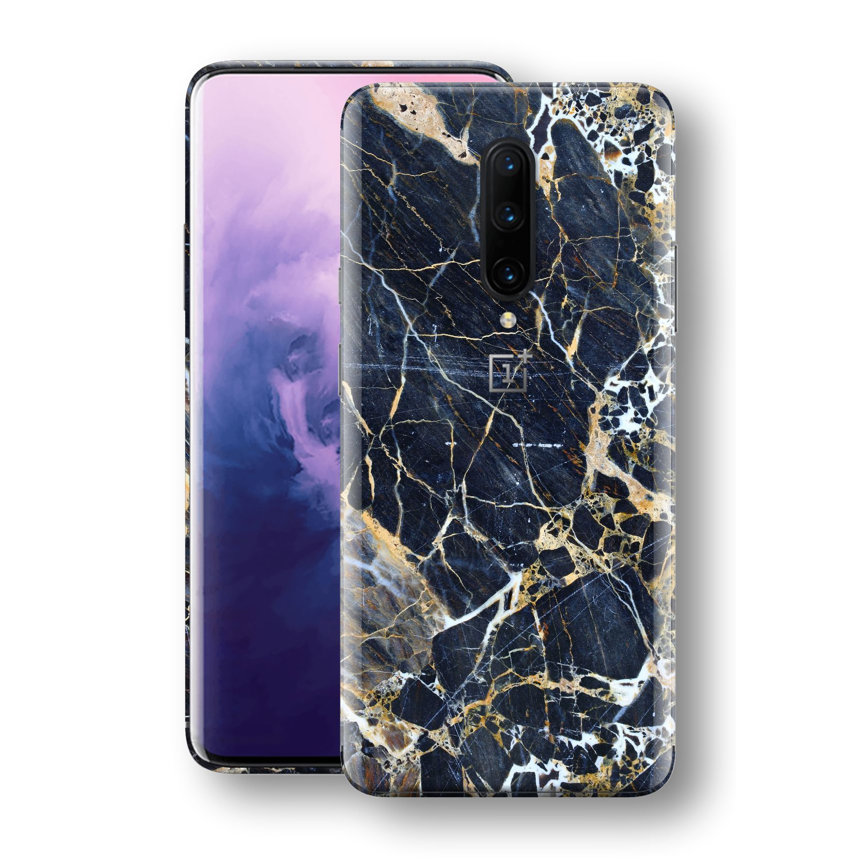 OnePlus 7 PRO Print Custom Signature Marble Blue Gold Skin Wrap Decal by EasySkinz - Design 2