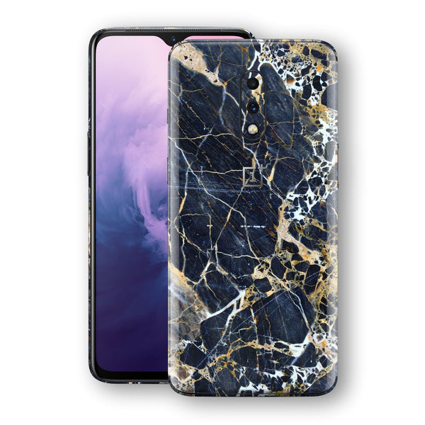 OnePlus 7 Print Custom Signature Marble Blue Gold Skin Wrap Decal by EasySkinz - Design 2