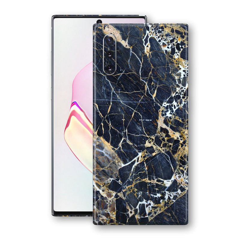 Samsung Galaxy NOTE 10 Print Custom Signature Marble Blue Gold Skin Wrap Decal by EasySkinz - Design 2