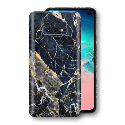 Samsung Galaxy S10e Print Custom Signature Marble Blue Gold Skin Wrap Decal by EasySkinz - Design 2