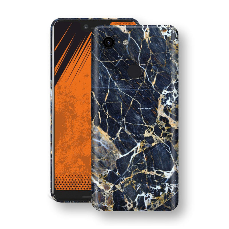 Google Pixel 3 XL Print Custom Signature Marble Blue Gold Skin Wrap Decal by EasySkinz - Design 2