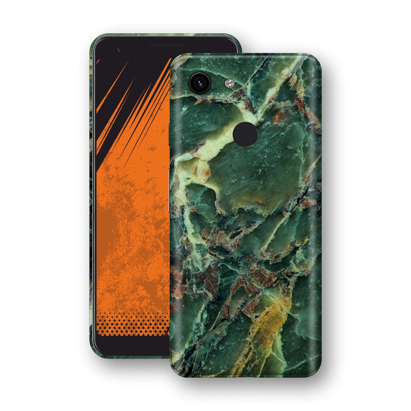 Google Pixel 3a Print Custom Signature Marble GREEN Skin Wrap Decal by EasySkinz - Design 2