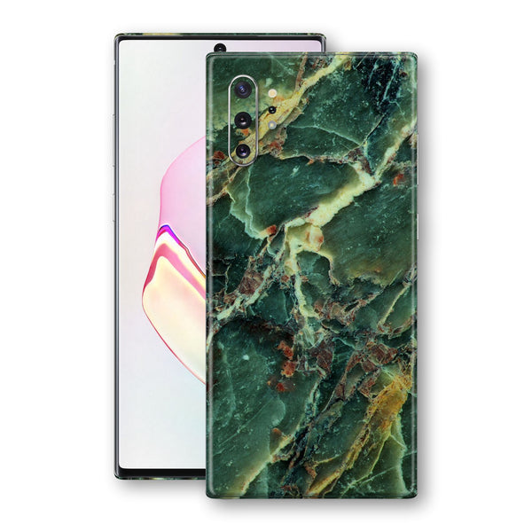 Samsung Galaxy NOTE 10+ PLUS Print Custom Signature Marble GREEN Skin Wrap Decal by EasySkinz - Design 2