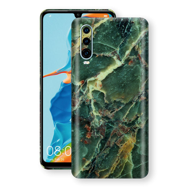 Huawei P30 Print Custom Signature Marble GREEN Skin Wrap Decal by EasySkinz - Design 2