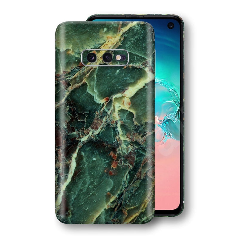Samsung Galaxy S10e Print Custom Signature Marble GREEN Skin Wrap Decal by EasySkinz - Design 2