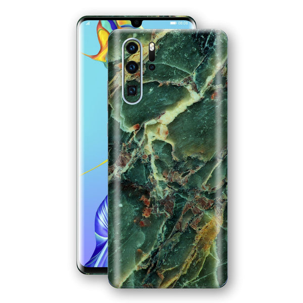 Huawei P30 PRO Print Custom Signature Marble GREEN Skin Wrap Decal by EasySkinz - Design 2