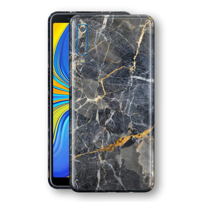 Samsung Galaxy A7 (2018) Print Custom Signature Marble Grey Gold Skin Wrap Decal by EasySkinz - Design 2