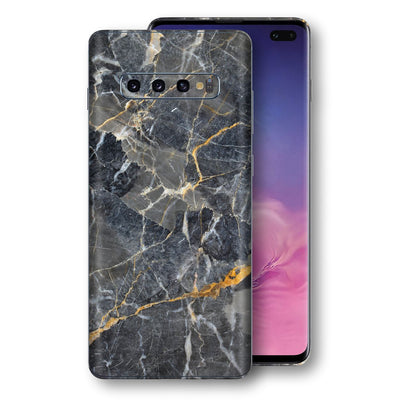 Samsung Galaxy S10+ PLUS Print Custom Signature Marble Grey Gold Skin Wrap Decal by EasySkinz - Design 2