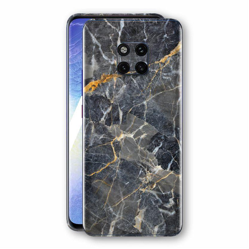 Huawei MATE 20 PRO Print Custom Signature Marble Grey Gold Skin Wrap Decal by EasySkinz - Design 2
