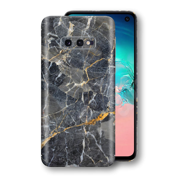 Samsung Galaxy S10e Print Custom Signature Marble Grey Gold Skin Wrap Decal by EasySkinz - Design 2