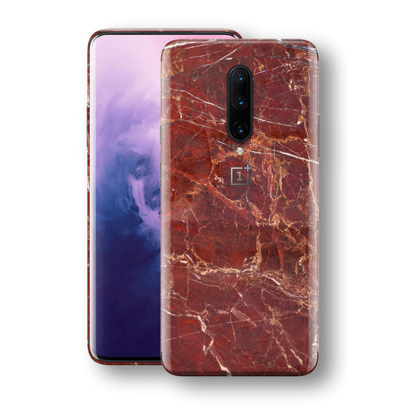 OnePlus 7 PRO Print Custom Signature Marble RED Skin Wrap Decal by EasySkinz - Design 2
