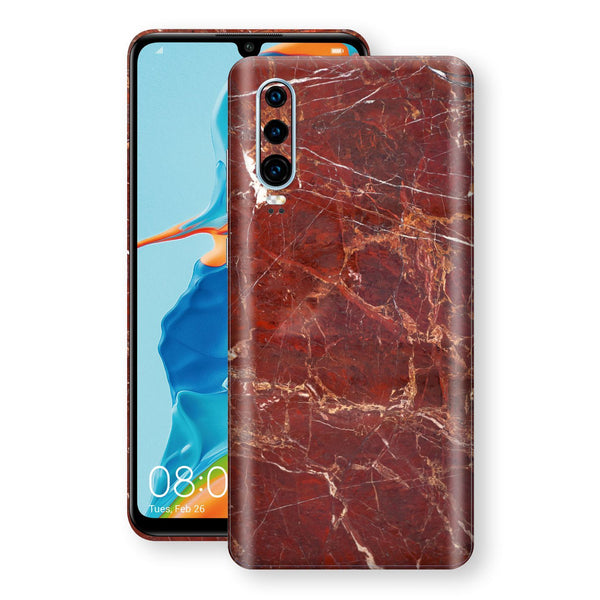 Huawei P30 Print Custom Signature Marble RED Skin Wrap Decal by EasySkinz - Design 2